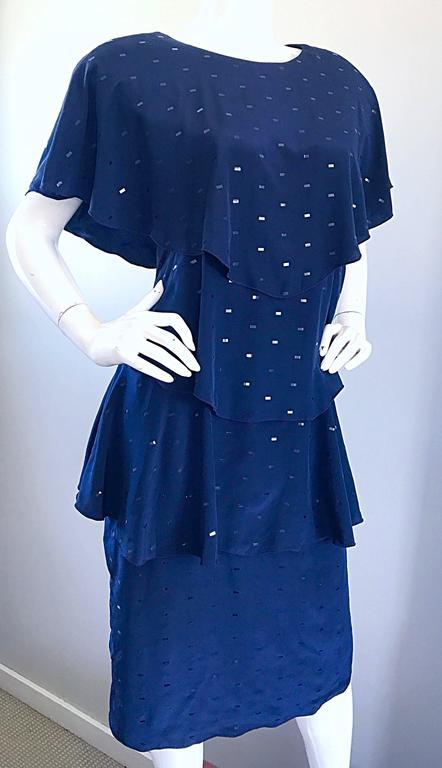 Vintage Holly's Harp Size Large Navy Blue Sequin Flapper Inispired Silk Dress  For Sale 1