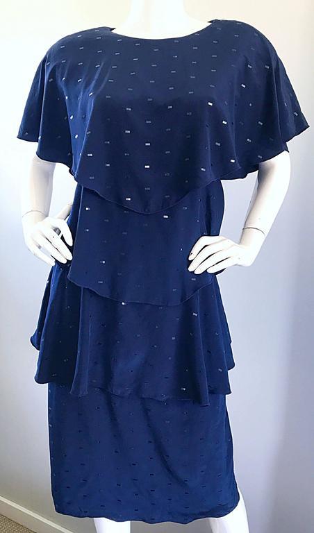 Vintage Holly's Harp Size Large Navy Blue Sequin Flapper Inispired Silk Dress  For Sale 2