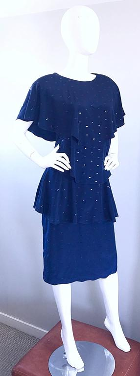 Vintage Holly's Harp Size Large Navy Blue Sequin Flapper Inispired Silk Dress  For Sale 3