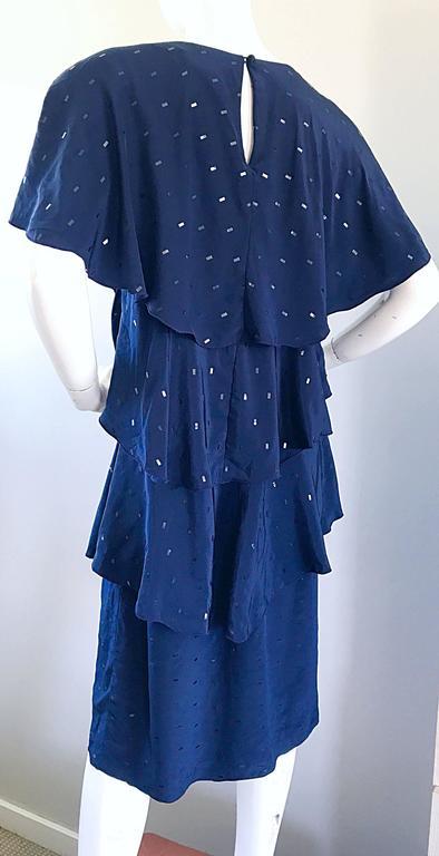 Vintage Holly's Harp Size Large Navy Blue Sequin Flapper Inispired Silk Dress  For Sale 4
