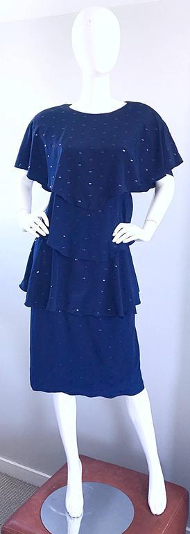 Vintage Holly's Harp Size Large Navy Blue Sequin Flapper Inispired Silk Dress  For Sale 5