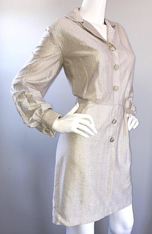 Chic 1970s White Gold + Silver Metallic Lurex Vintage 70s Shirt Dress  In Excellent Condition For Sale In Chicago, IL