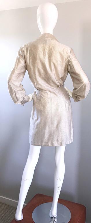 Women's Chic 1970s White Gold + Silver Metallic Lurex Vintage 70s Shirt Dress  For Sale