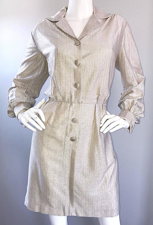 Chic 1970s White Gold + Silver Metallic Lurex Vintage 70s Shirt Dress  For Sale 1