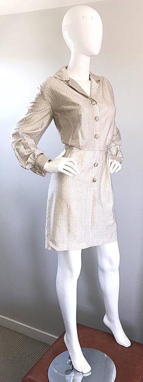 Chic 1970s White Gold + Silver Metallic Lurex Vintage 70s Shirt Dress  For Sale 2