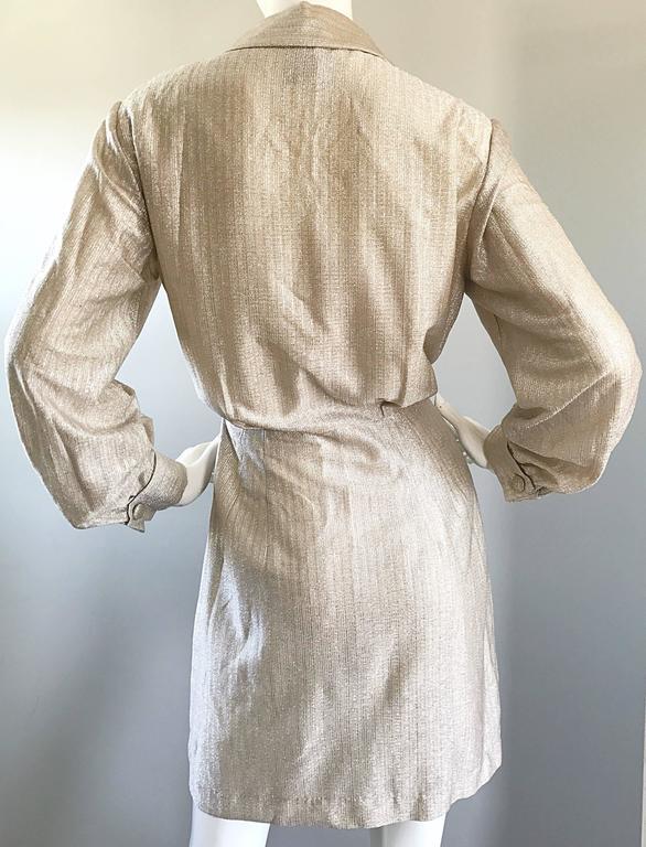 Chic 1970s White Gold + Silver Metallic Lurex Vintage 70s Shirt Dress  For Sale 3