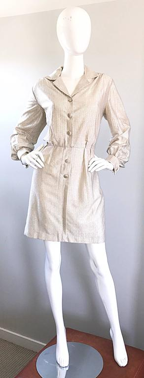 Chic 1970s White Gold + Silver Metallic Lurex Vintage 70s Shirt Dress  For Sale 4