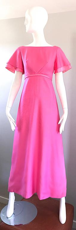 1970s Emma Domb Bubblegum Pink Short Sleeve Vintage 70s Empire Waist Maxi Dress 2