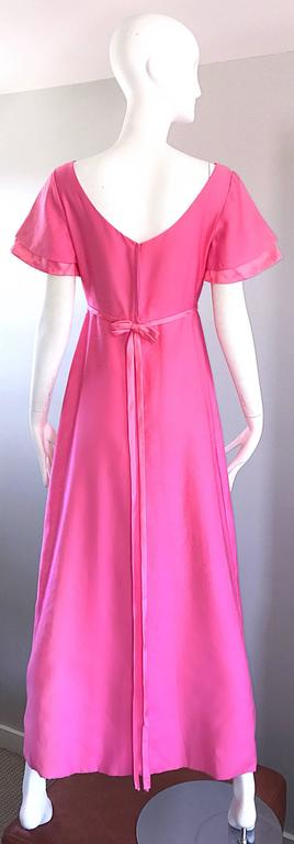 1970s Emma Domb Bubblegum Pink Short Sleeve Vintage 70s Empire Waist Maxi Dress 3