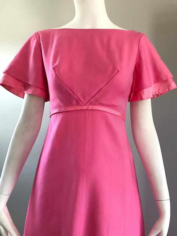1970s Emma Domb Bubblegum Pink Short Sleeve Vintage 70s Empire Waist Maxi Dress 4