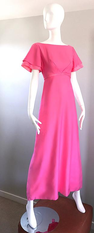 1970s Emma Domb Bubblegum Pink Short Sleeve Vintage 70s Empire Waist Maxi Dress 5