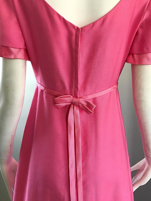 1970s Emma Domb Bubblegum Pink Short Sleeve Vintage 70s Empire Waist Maxi Dress 6