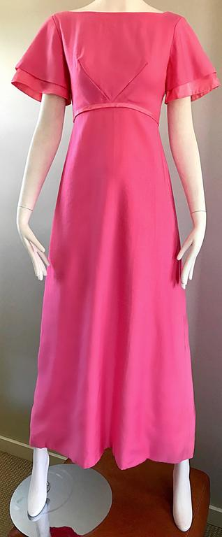 1970s Emma Domb Bubblegum Pink Short Sleeve Vintage 70s Empire Waist Maxi Dress 7