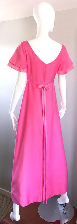 1970s Emma Domb Bubblegum Pink Short Sleeve Vintage 70s Empire Waist Maxi Dress 8
