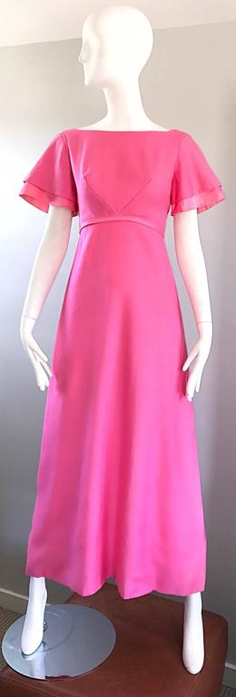 1970s Emma Domb Bubblegum Pink Short Sleeve Vintage 70s Empire Waist Maxi Dress 9