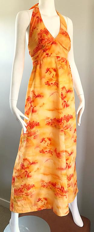 Women's Incredible 1970s Asian Themed Bright Orange Vintage 70s Novelty Maxi Dress  For Sale