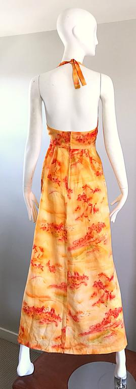 Incredible 1970s Asian Themed Bright Orange Vintage 70s Novelty Maxi Dress  For Sale 1