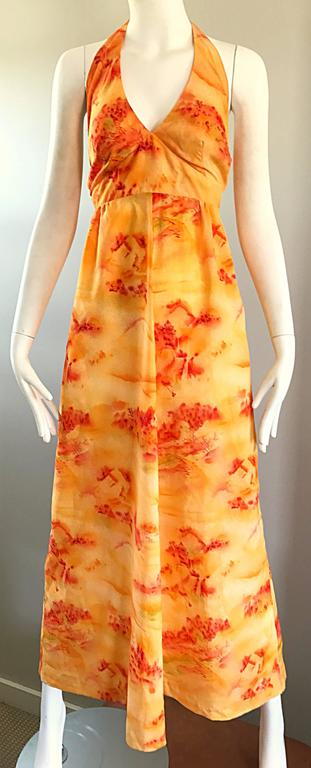 Incredible 1970s Asian Themed Bright Orange Vintage 70s Novelty Maxi Dress  For Sale 2