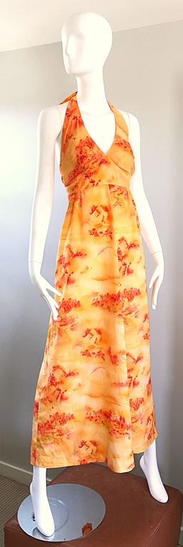 Incredible 1970s Asian Themed Bright Orange Vintage 70s Novelty Maxi Dress  For Sale 4