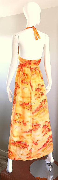 Incredible 1970s Asian Themed Bright Orange Vintage 70s Novelty Maxi Dress  For Sale 3