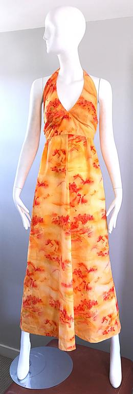 Incredible 1970s Asian Themed Bright Orange Vintage 70s Novelty Maxi Dress  For Sale 6
