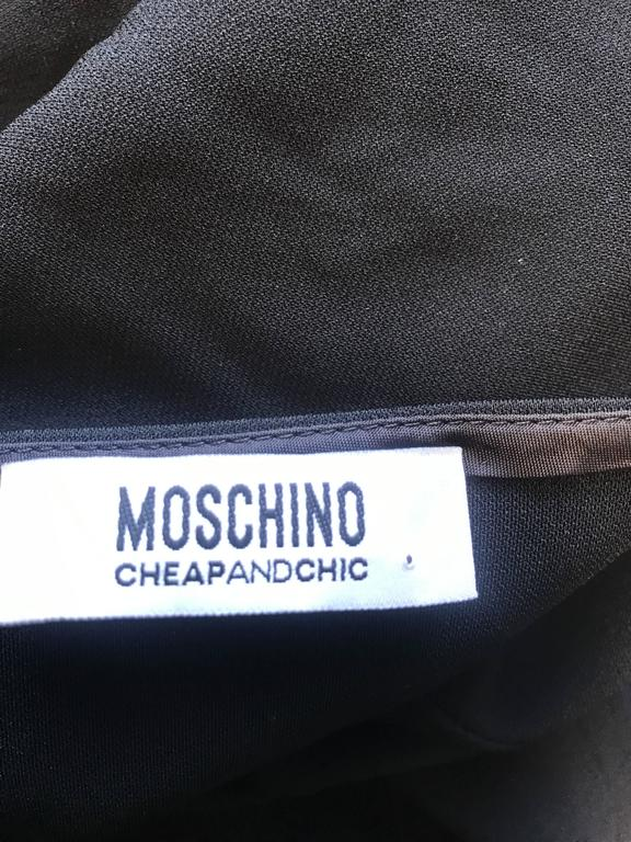 1990s Moschino Cheap & Chic Black Silver Chain Loop Belt Vintage Dress Size 6  10