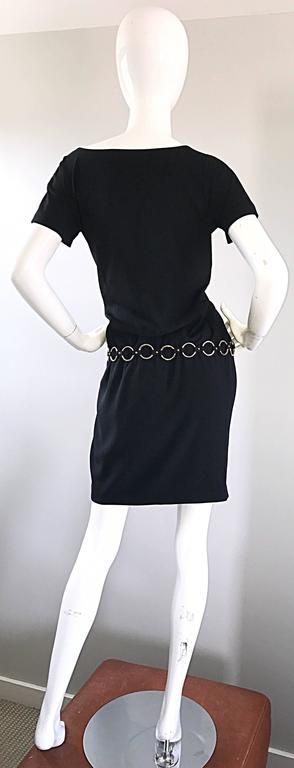 1990s Moschino Cheap & Chic Black Silver Chain Loop Belt Vintage Dress Size 6  4