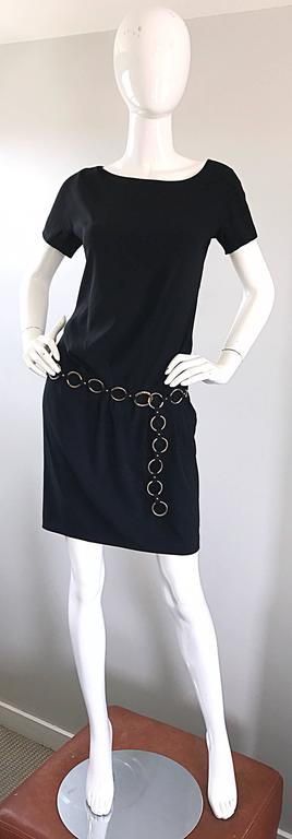 1990s Moschino Cheap & Chic Black Silver Chain Loop Belt Vintage Dress Size 6  9