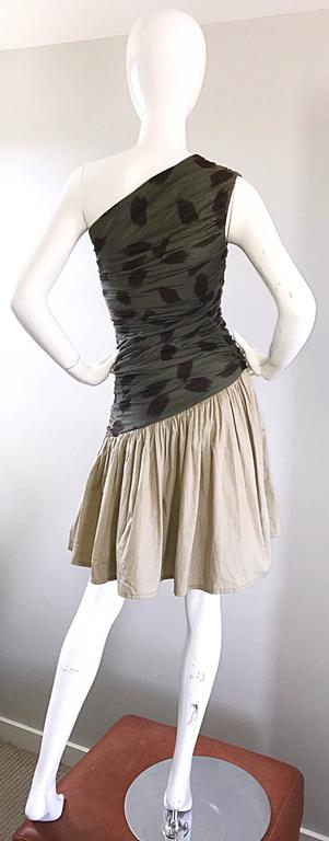 90s Asymmetrical Abstract Leopard One Shoulder Army Green + Khaki  Vintage Dress In Excellent Condition For Sale In Chicago, IL