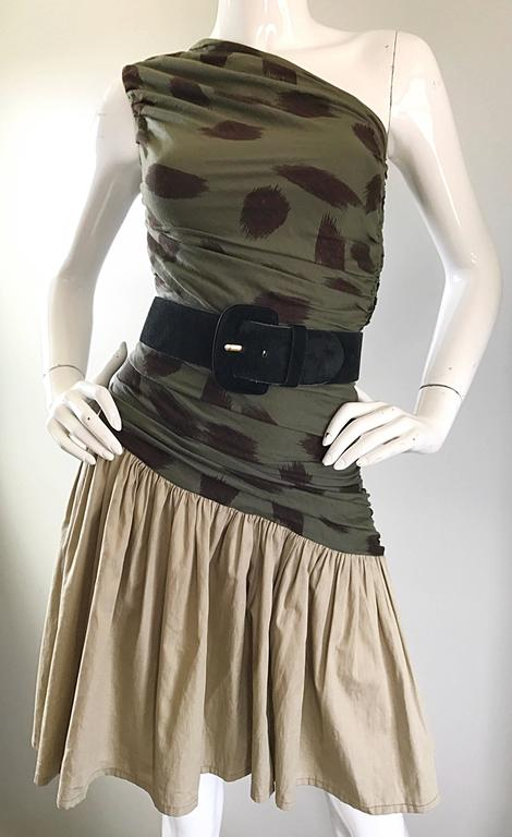 90s Asymmetrical Abstract Leopard One Shoulder Army Green + Khaki  Vintage Dress For Sale 1