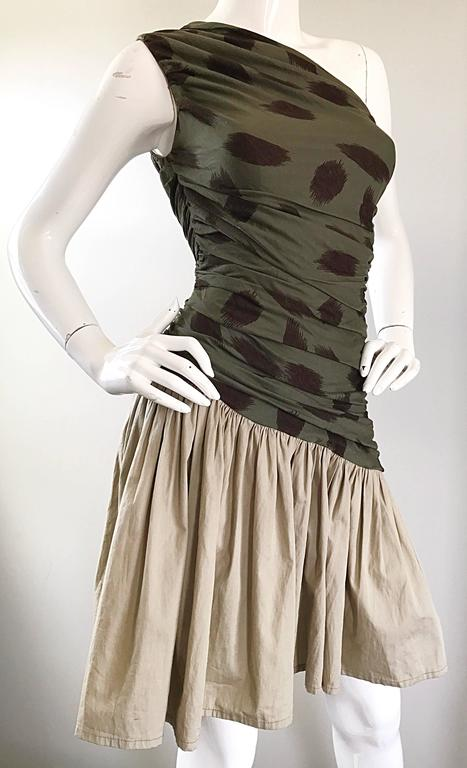 90s Asymmetrical Abstract Leopard One Shoulder Army Green + Khaki  Vintage Dress For Sale 2