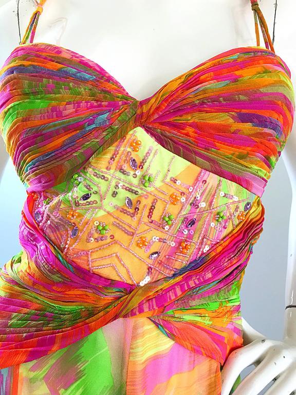 Orange 1990s Diane Freis Sz 10 Bright Sequin Beaded Silk Chiffon Handkerchief Hem Dress For Sale