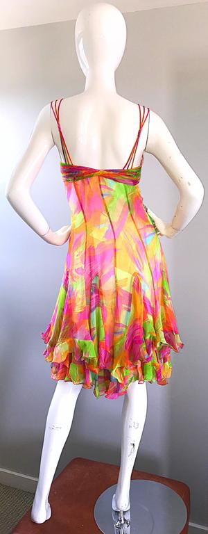 1990s Diane Freis Sz 10 Bright Sequin Beaded Silk Chiffon Handkerchief Hem Dress In New Condition For Sale In Chicago, IL