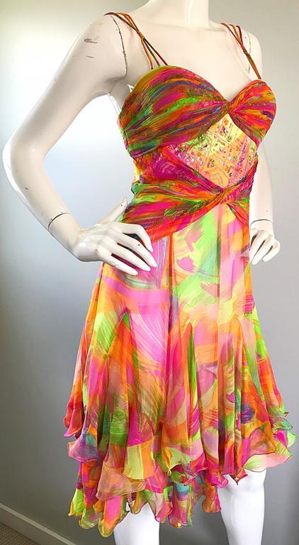 Women's 1990s Diane Freis Sz 10 Bright Sequin Beaded Silk Chiffon Handkerchief Hem Dress For Sale