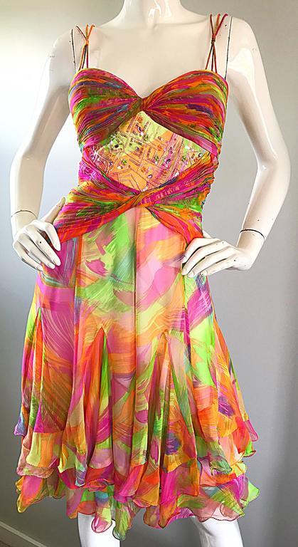 1990s Diane Freis Sz 10 Bright Sequin Beaded Silk Chiffon Handkerchief Hem Dress For Sale 1