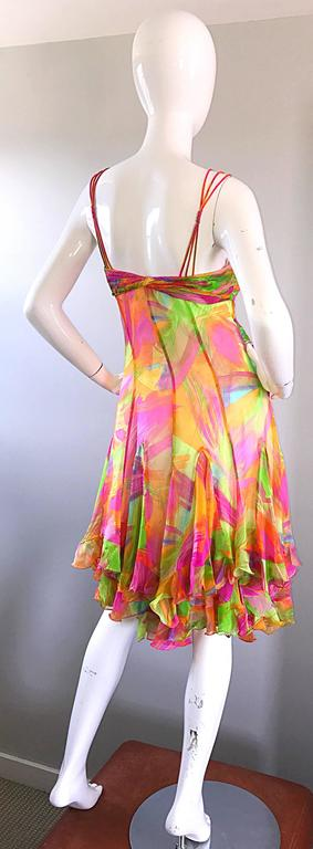 1990s Diane Freis Sz 10 Bright Sequin Beaded Silk Chiffon Handkerchief Hem Dress For Sale 3