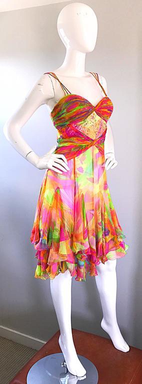1990s Diane Freis Sz 10 Bright Sequin Beaded Silk Chiffon Handkerchief Hem Dress For Sale 2