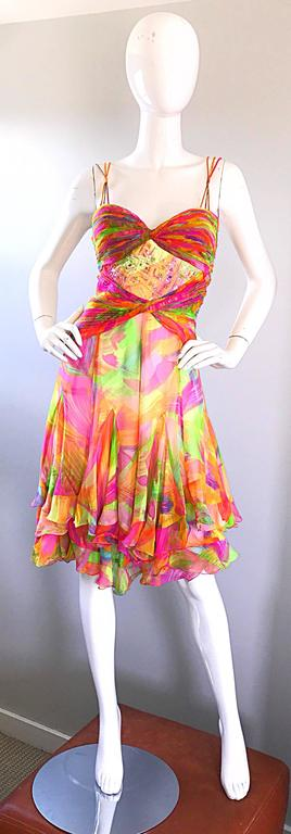 1990s Diane Freis Sz 10 Bright Sequin Beaded Silk Chiffon Handkerchief Hem Dress For Sale 4