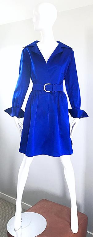 Sensational vintage BILL BLASS Couture royal blue silk satin dress! This gem was completely hand-sewn, and is numbered. Features a fitted bodice with a flattering full skirt, with a detachable matching belt with a rhinestone encrusted buckle. French