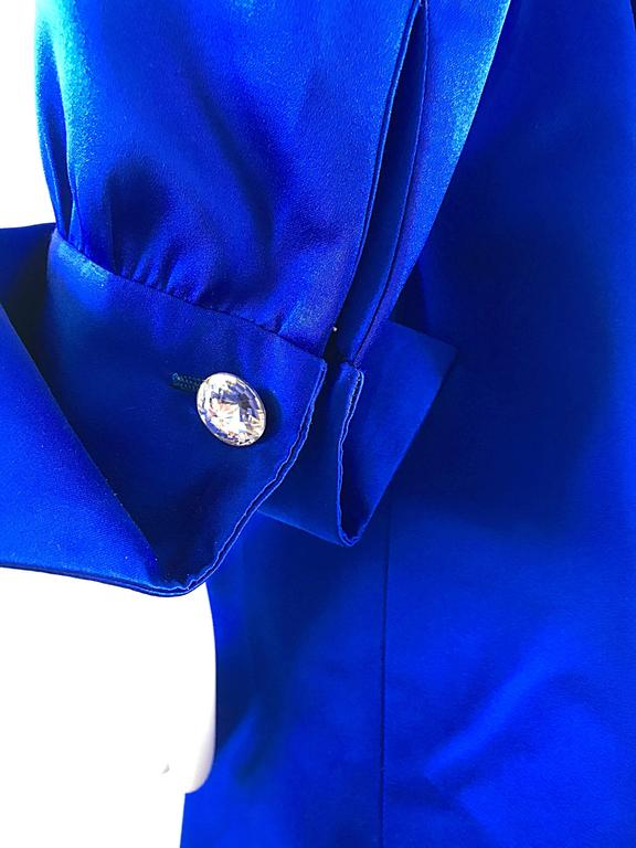 Gorgeous Bill Blass Couture Vintage 1970s Royal Blue Silk Satin Belted 70s Dress For Sale 4