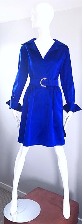 Gorgeous Bill Blass Couture Vintage 1970s Royal Blue Silk Satin Belted 70s Dress For Sale 5
