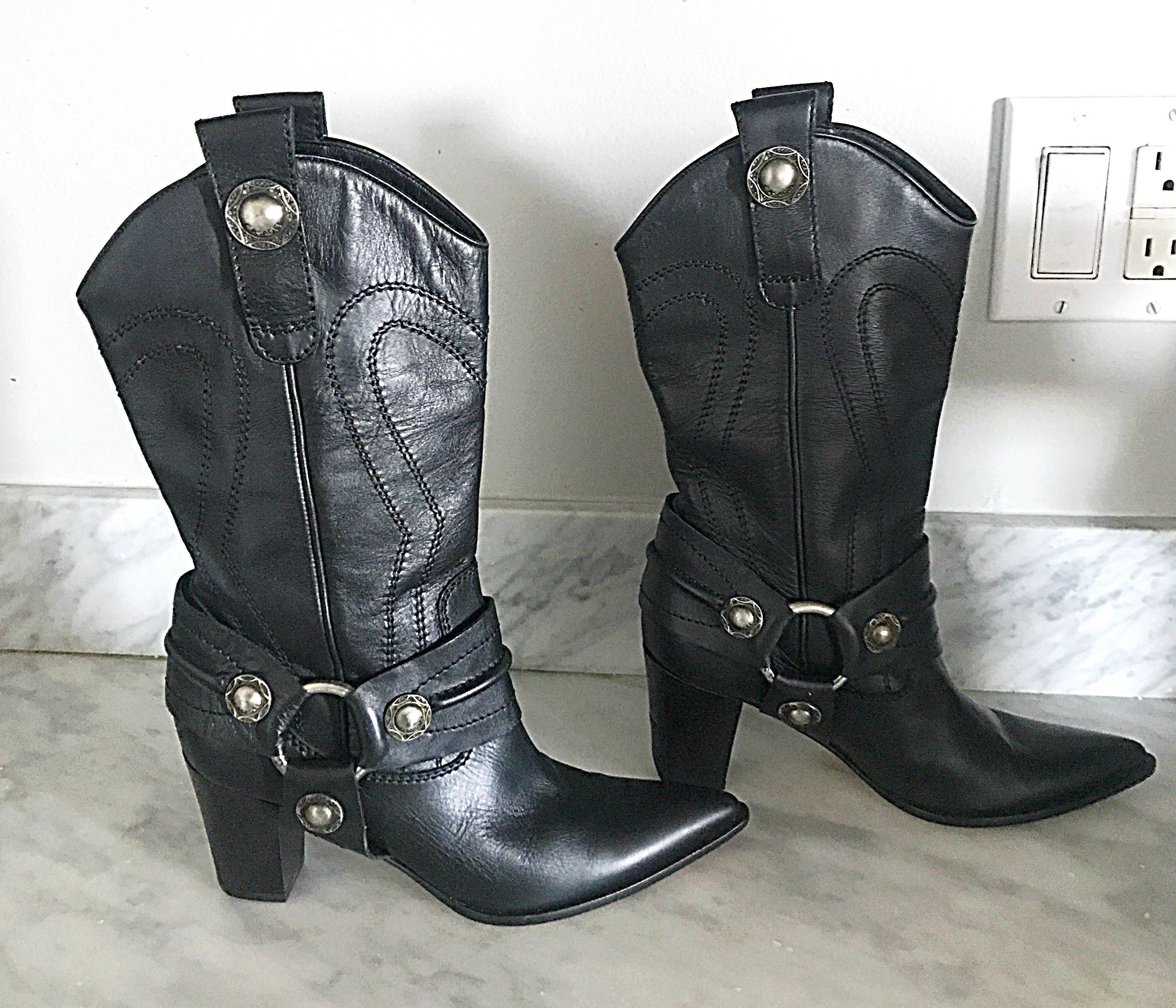 03fe461adbf Casadei Black Leather Western High Heeled Pointed Toe Cowboy Boots For Sale  at 1stdibs