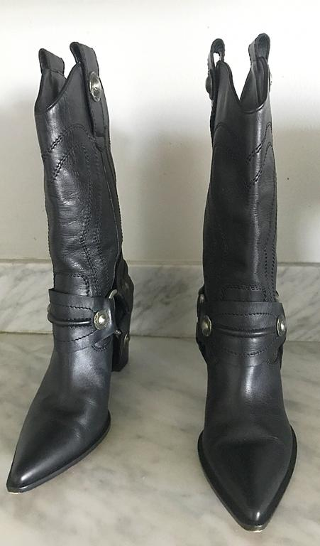 Casadei Size 5 Black Leather Western High Heeled Pointed Toe Cowboy Boots  For Sale 1