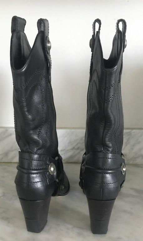 Casadei Size 5 Black Leather Western High Heeled Pointed Toe Cowboy Boots  For Sale 2
