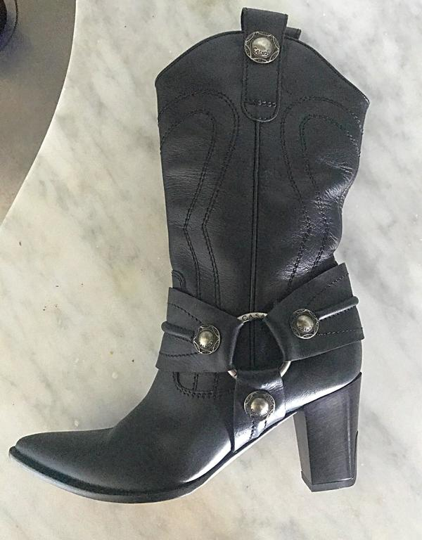 Casadei Size 5 Black Leather Western High Heeled Pointed Toe Cowboy Boots  For Sale 4