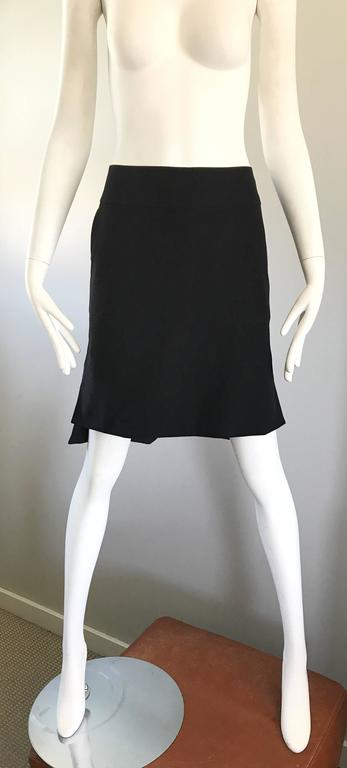 Vintage Yves Saint Laurent Rive Gauche YSL Black Hi - Lo Asymmetrical 90s Skirt In Excellent Condition For Sale In Chicago, IL