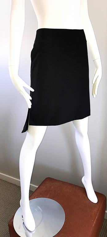 Vintage Yves Saint Laurent Rive Gauche YSL Black Hi - Lo Asymmetrical 90s Skirt For Sale 1