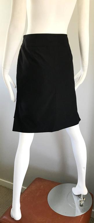 Vintage Yves Saint Laurent Rive Gauche YSL Black Hi - Lo Asymmetrical 90s Skirt For Sale 2