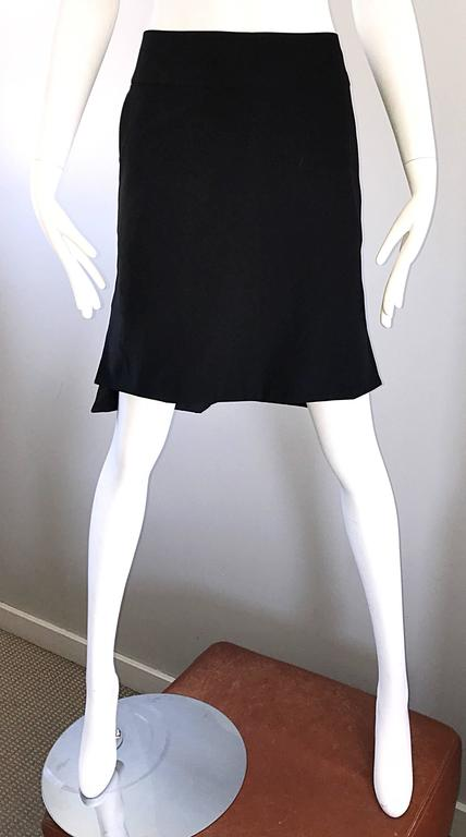 Vintage Yves Saint Laurent Rive Gauche YSL Black Hi - Lo Asymmetrical 90s Skirt For Sale 3