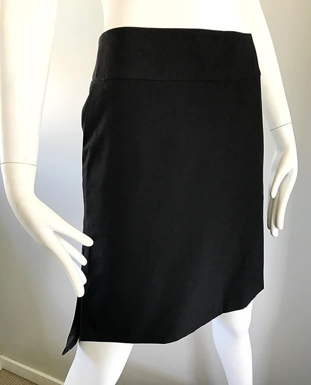 Vintage Yves Saint Laurent Rive Gauche YSL Black Hi - Lo Asymmetrical 90s Skirt For Sale 4